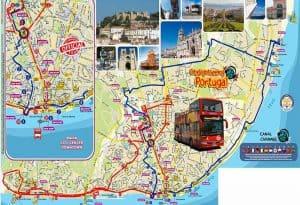 mapa do hop on hop off de Lisboa