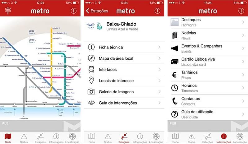 aplicativo para o metrô de Lisboa