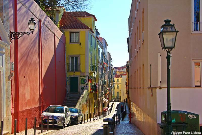 Ruas estreitas de Alfama Lisboa